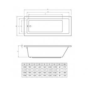 Ванна акриловая Koller Pool NEON NEW 180x80 без ножек (KP)