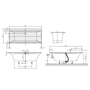 Ванна VILLEROY&BOCH SQUARO EDGE 12  180*80см ( ножки + комплект слив/перелив) UBQ180SQE2DV-01