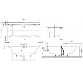 Ванна VILLEROY&BOCH SQUARO EDGE 12  190*90см (ножки+ комплект слив/перелив) UBQ190SQE2DV-01