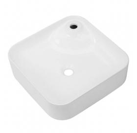 Комплект:  умывальник квадратный VOLLE 43x43x12 cм, накладной с отверстием под смеситель + Смеситель
