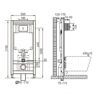 Комплект: FIESTA RIM унитаз подвесной, сиденье SLIM + Комплект инсталляции Volle Master 4в1 ( белая
