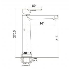 Смеситель для раковины VOLLE BENITA хром 35 мм, 15171200