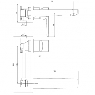 Смеситель для раковины настенный VOLLE BENITA хром 35 мм, 15171300