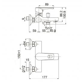 Смеситель для ванны VOLLE BENITA хром 35 мм, 15172100