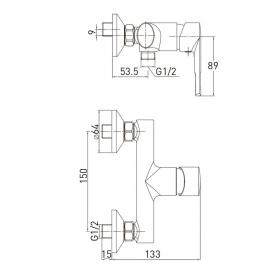 Смеситель для душа VOLLE BENITA хром 35 мм, 15173100