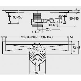 Душевой лоток  Viega  Advantix  Basic 800 мм
