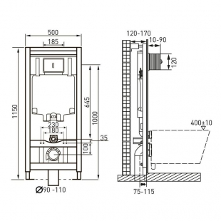 Комплект: ALTEA Rimless унитаз подвесной, сиденье Slim + Комплект инсталляции Volle Master 4в1, 13-6