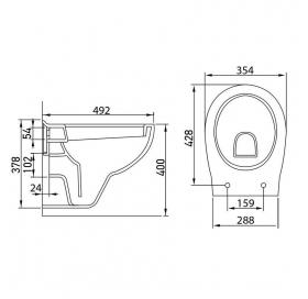 Комплект: MARO унитаз подвесной сиденье мягкое + Комплект инсталляции Volle Master 4в1, 13-52-321+14