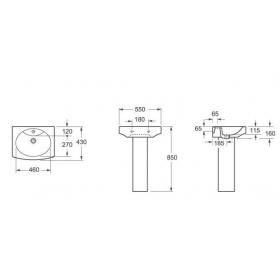 Умывальник VOLLE BENITA с отверстием+пьедестал 55*43 см,13-09-003
