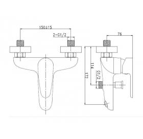 Смеситель для ванны с гарнитуром Invena Kastos, BW-16-001