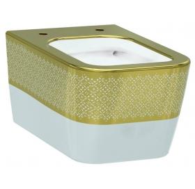 Унитаз подвесной Idevit Hally Rimless 3204-2616-1101 с золотым декором