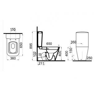 Унитаз-компакт Idevit Halley SETK3204-0317-001-1-6200 с функцией биде и вентилем + сиденье Soft-Clos