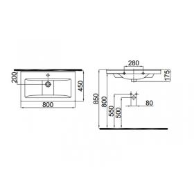 Мебельный умывальник Idevit Hera 80 см, 0201-0805