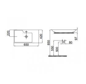 Мебельный умывальник Idevit Lara 65 см, 0201-4655