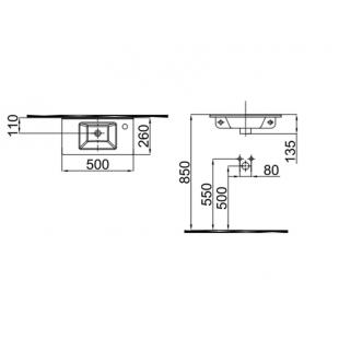Умывальник Idevit Merkur 0201-3505-07 50 см отверстие справа