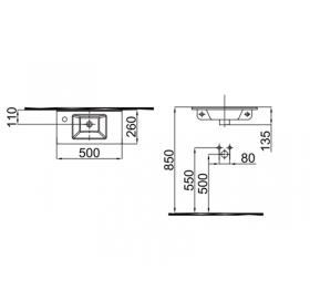 Умывальник Idevit Merkur 0201-3507 50 см отверстие слева