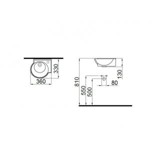 Умывальник Idevit Myra Mini 0201-0365-07 правый 36 см