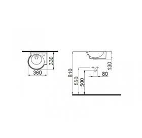 Умывальник Idevit Myra Mini 0201-0365 правый 36 см