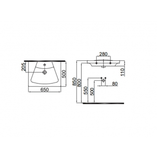 Умывальник Idevit Vega 2801-0505-07 65 см