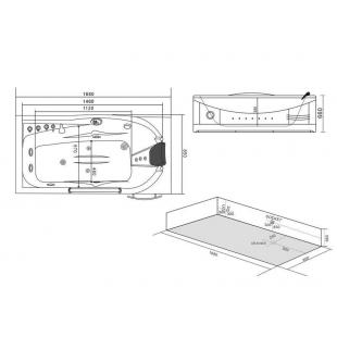 Ванна IRIS TLP-634-G прямоугольная с гидромассажем 168*85*66 мм