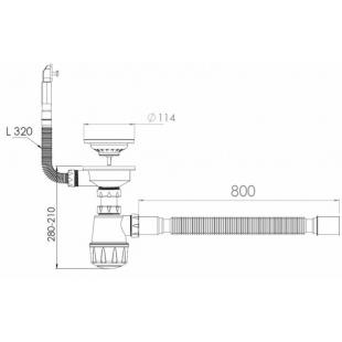 Сифон NOVA 1048 для мойки с круглым переливом