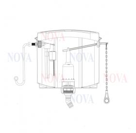 Бачок NOVA 4080 пластиковый для унитаза с боковым механизмом спуска воды и комплектом труб