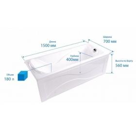 Гидроаэромассажная ванна Triton Кэт 1500х700х560 (гидро+спинной массаж+подсветка)