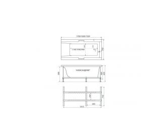Ванна Triton Александрия 1600х750х650  прямоугольная (ванна+каркас+лицевой экран+слив-перелив)