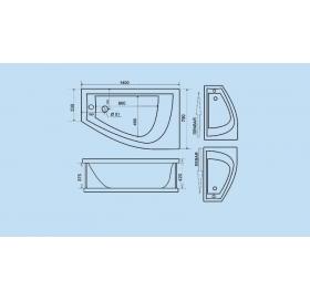 Гидромассажная ванна Triton Бэлла правая 1400х750х600 (гидро+спинной)