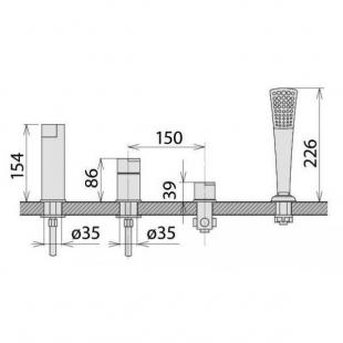 Смеситель Welle Ernest для ванны врезной AR28218D-1303