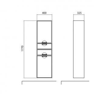 Пенал AQUA RODOS Глория правый с корзиной для белья консольный, SP0000055
