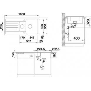 Кухонная мойка Blanco LEGRA 6S SILGRANIT® антрацит, 522207