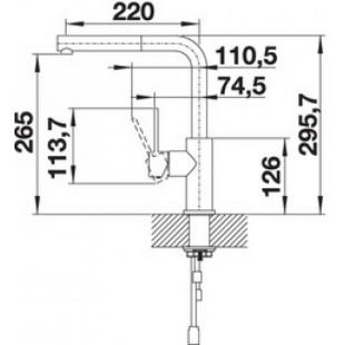 Кухонный смеситель Blanco LANORA-S нержавеющая сталь 523123