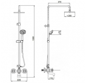 Душевая система Qtap Liberty ORO 140-210