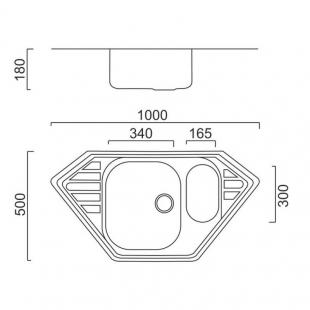 Кухонная мойка Imperial 9550 Decor с доп чашей, IMP9550CDECD