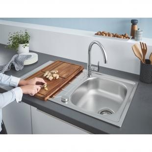 Мойка из нержавеющей стали Grohe + Однорычажный смеситель для кухни BauEdge 31562SD1