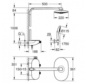 Душевая система с термостатом Grohe Rainshower System SmartControl 360 DUO, 26250LS0