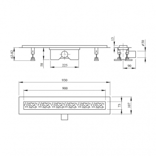 Линейный трап Q-tap Dry FC304-900 с сухим затвором 900 мм