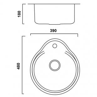 Кухонная мойка Imperial 4843 Satin круглая, IMP484306SAT