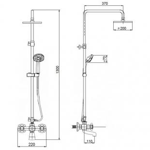 Душевая система Qtap Liberty CRM 140-210