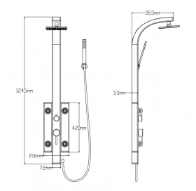 Душевая панель Qtap 1102 BLA