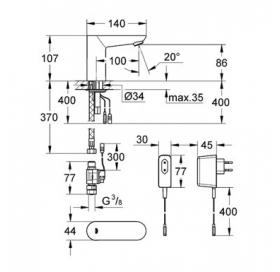 Инфракрасная электроника для раковины без смешивания Grohe EUROECO Cosmopolitan E, хром, 36269000