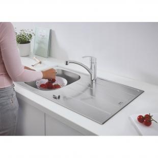 Мойка из нержавеющей стали Grohe + Однорычажный смеситель для кухни Eurosmart 31565SD1
