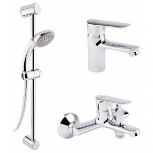Набор смесителей для умывальника, ванны и душевая стойка Q-tap Set CRM 35-211