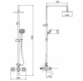 Душевая система Qtap Liberty ANT 140-210