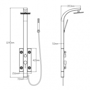 Душевая панель Qtap 1102 WHI