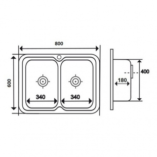 Кухонная мойка двойная Imperial 6080 Decor прямоугольная, IMP6080DEC