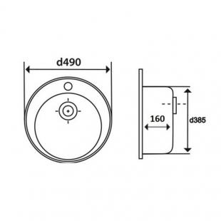 Кухонная мойка Imperial 490-A Decor круглая, IMP490A06DEC160