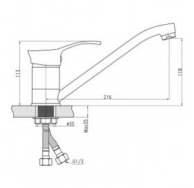 Смеситель для кухни Q-tap Eris СRM 003