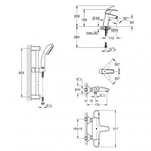 Набор смесителей ванны Grohe GRT1000+Eurosmart 34101TM (23324001+34155003+27926000)